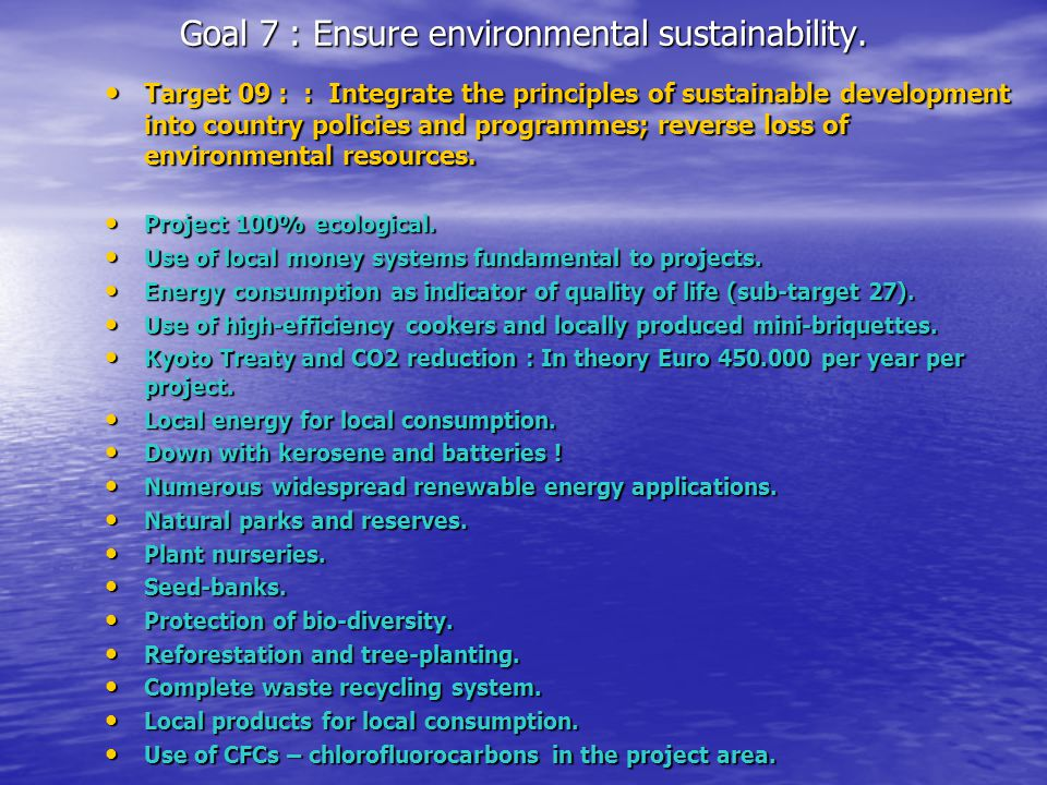 Goal 7 : Ensure environmental sustainability. Target 09 : : Integrate the principles of sustainable development into country policies and programmes;