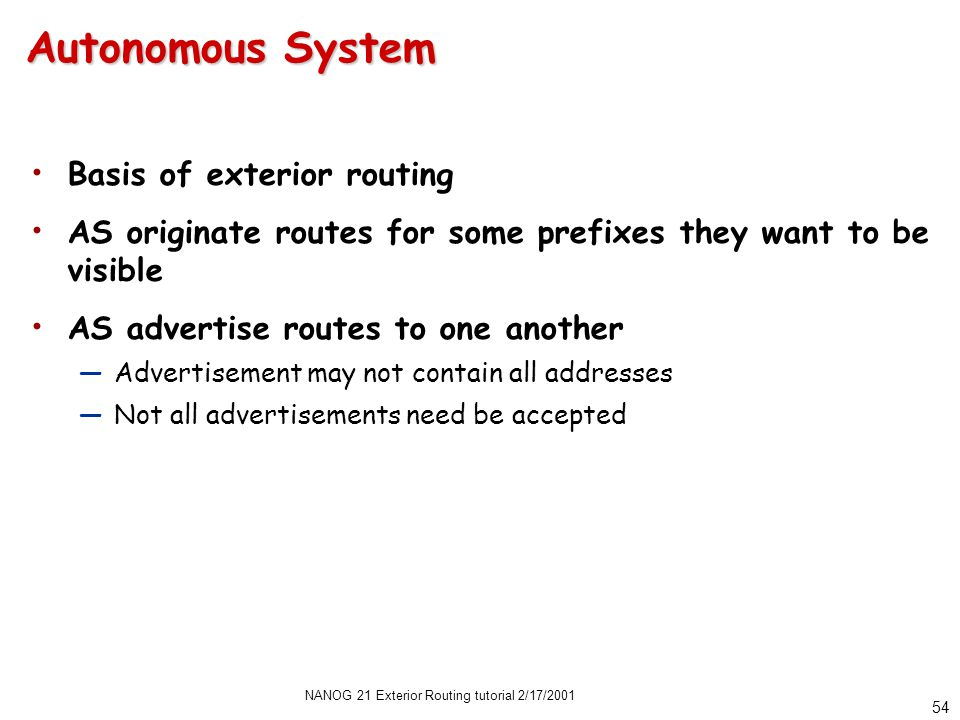 NANOG 21 Exterior Routing tutorial 2/17/2001 53 Operational Relationships 3: Registries, Domains, etc.