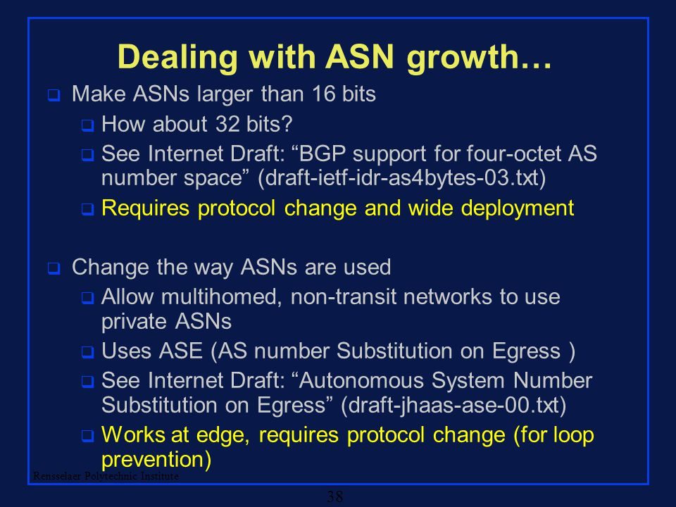 "Rensselaer Polytechnic Institute 38 Dealing with ASN growth… q Make ASNs larger than 16 bits q How about 32 bits? q See Internet Draft: ""BGP support f"