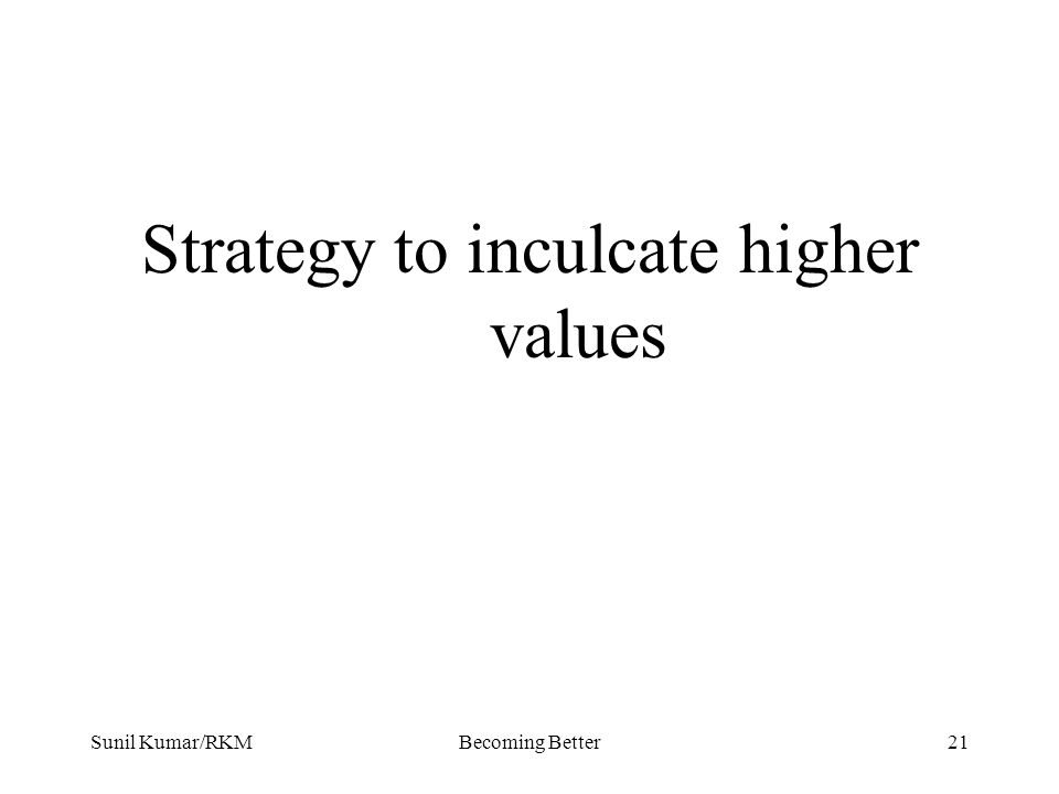 Sunil Kumar/RKMBecoming Better21 Strategy to inculcate higher values