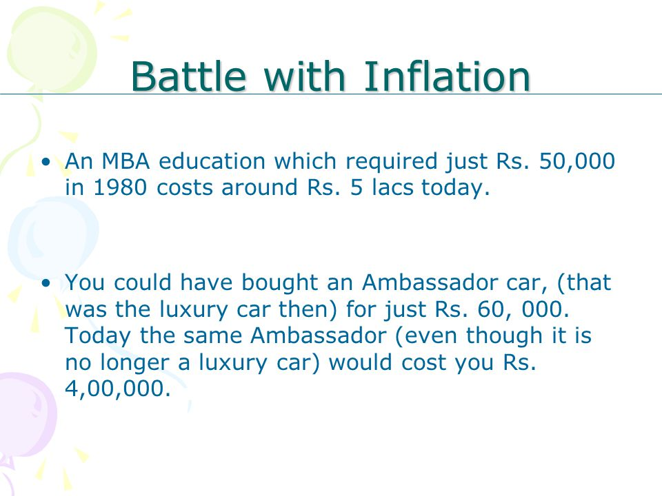 Battle with Inflation An MBA education which required just Rs. 50,000 in 1980 costs around Rs. 5 lacs today. You could have bought an Ambassador car,