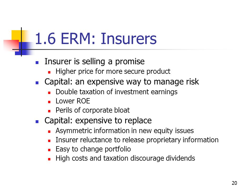 20 1.6 ERM: Insurers Insurer is selling a promise Higher price for more secure product Capital: an expensive way to manage risk Double taxation of investment earnings Lower ROE Perils of corporate bloat Capital: expensive to replace Asymmetric information in new equity issues Insurer reluctance to release proprietary information Easy to change portfolio High costs and taxation discourage dividends