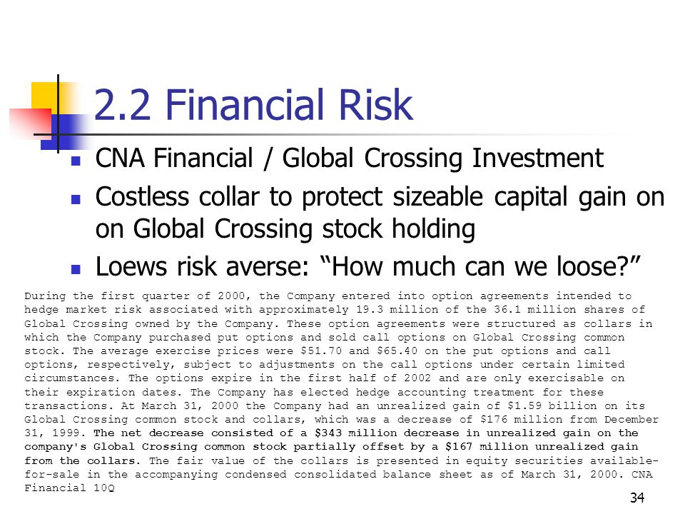 34 2.2 Financial Risk CNA Financial / Global Crossing Investment Costless collar to protect sizeable capital gain on on Global Crossing stock holding Loews risk averse: How much can we loose During the first quarter of 2000, the Company entered into option agreements intended to hedge market risk associated with approximately 19.3 million of the 36.1 million shares of Global Crossing owned by the Company.