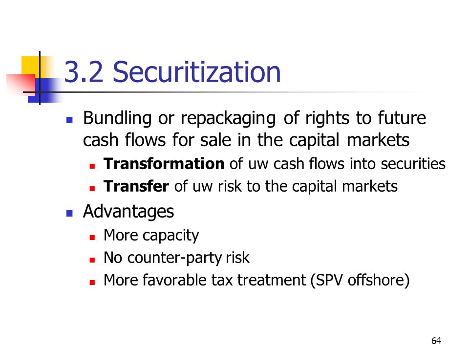 64 3.2 Securitization Bundling or repackaging of rights to future cash flows for sale in the capital markets Transformation of uw cash flows into securities Transfer of uw risk to the capital markets Advantages More capacity No counter-party risk More favorable tax treatment (SPV offshore)