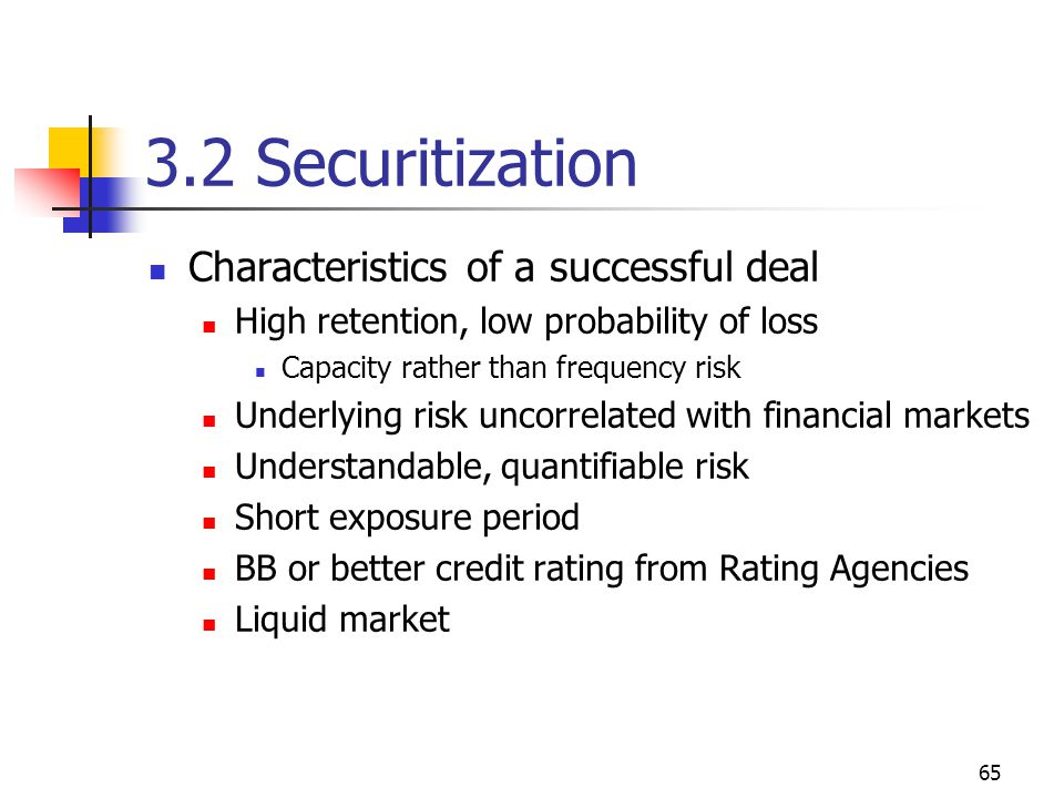 65 3.2 Securitization Characteristics of a successful deal High retention, low probability of loss Capacity rather than frequency risk Underlying risk uncorrelated with financial markets Understandable, quantifiable risk Short exposure period BB or better credit rating from Rating Agencies Liquid market