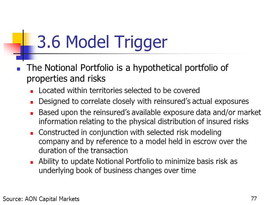 77 3.6 Model Trigger The Notional Portfolio is a hypothetical portfolio of properties and risks Located within territories selected to be covered Designed to correlate closely with reinsured's actual exposures Based upon the reinsured's available exposure data and/or market information relating to the physical distribution of insured risks Constructed in conjunction with selected risk modeling company and by reference to a model held in escrow over the duration of the transaction Ability to update Notional Portfolio to minimize basis risk as underlying book of business changes over time Source: AON Capital Markets