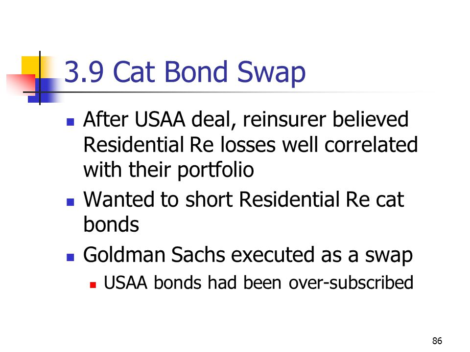86 3.9 Cat Bond Swap After USAA deal, reinsurer believed Residential Re losses well correlated with their portfolio Wanted to short Residential Re cat bonds Goldman Sachs executed as a swap USAA bonds had been over-subscribed