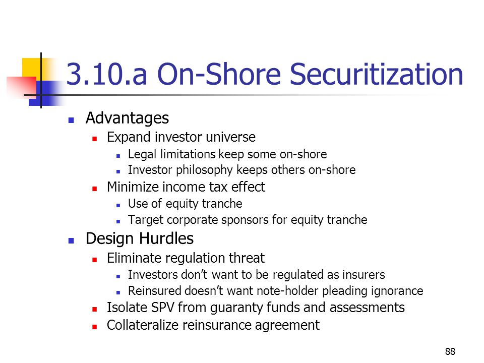 88 3.10.a On-Shore Securitization Advantages Expand investor universe Legal limitations keep some on-shore Investor philosophy keeps others on-shore Minimize income tax effect Use of equity tranche Target corporate sponsors for equity tranche Design Hurdles Eliminate regulation threat Investors don't want to be regulated as insurers Reinsured doesn't want note-holder pleading ignorance Isolate SPV from guaranty funds and assessments Collateralize reinsurance agreement