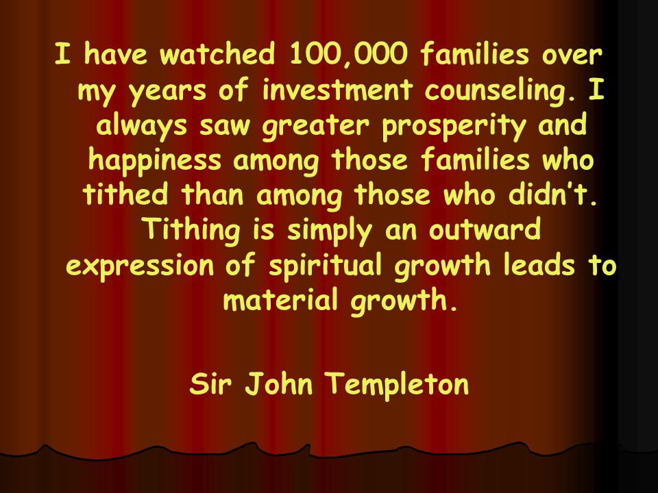 I have watched 100,000 families over my years of investment counseling.
