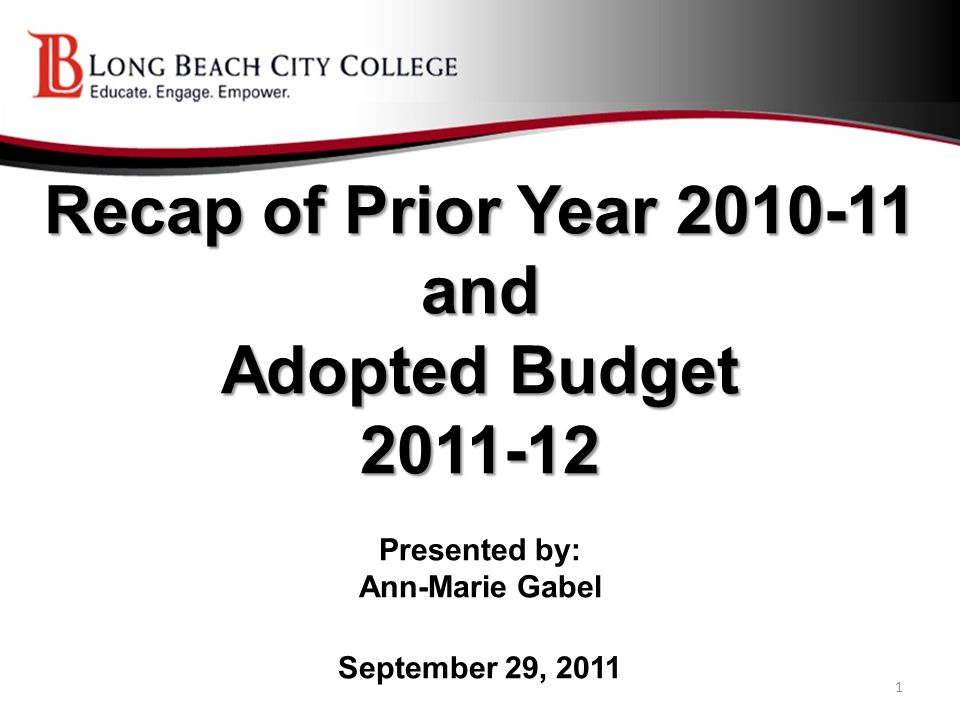 Recap of Prior Year 2010-11 and Adopted Budget 2011-12 Recap of Prior Year 2010-11 and Adopted Budget 2011-12 Presented by: Ann-Marie Gabel September