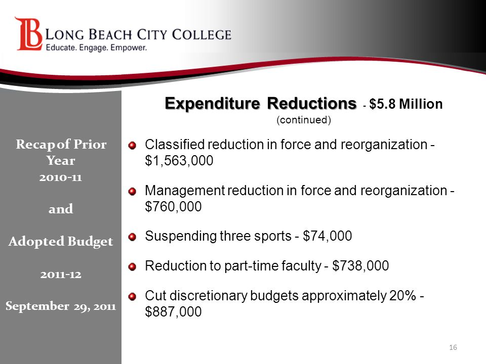 Expenditure Reductions Expenditure Reductions - $5.8 Million (continued) Classified reduction in force and reorganization - $1,563,000 Management redu