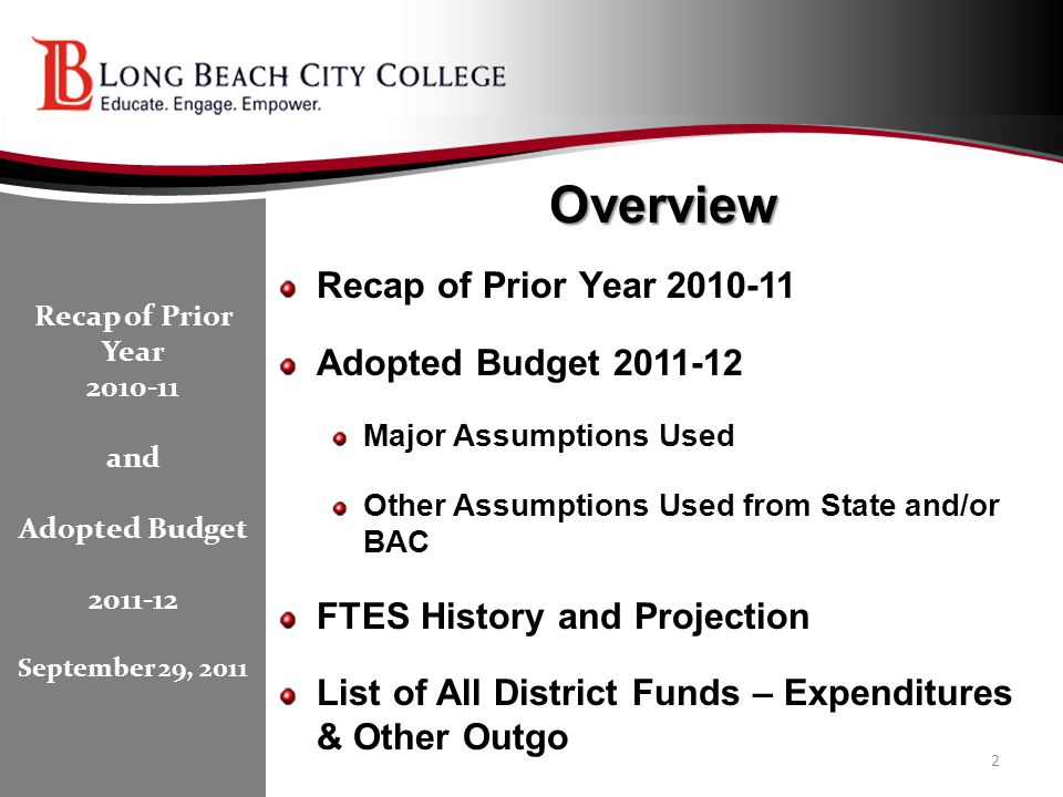 Overview Recap of Prior Year 2010-11 Adopted Budget 2011-12 Major Assumptions Used Other Assumptions Used from State and/or BAC FTES History and Proje