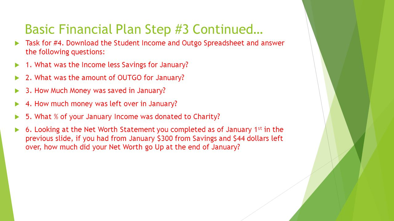 Basic Financial Plan Step #3 Continued…  Task for #4.