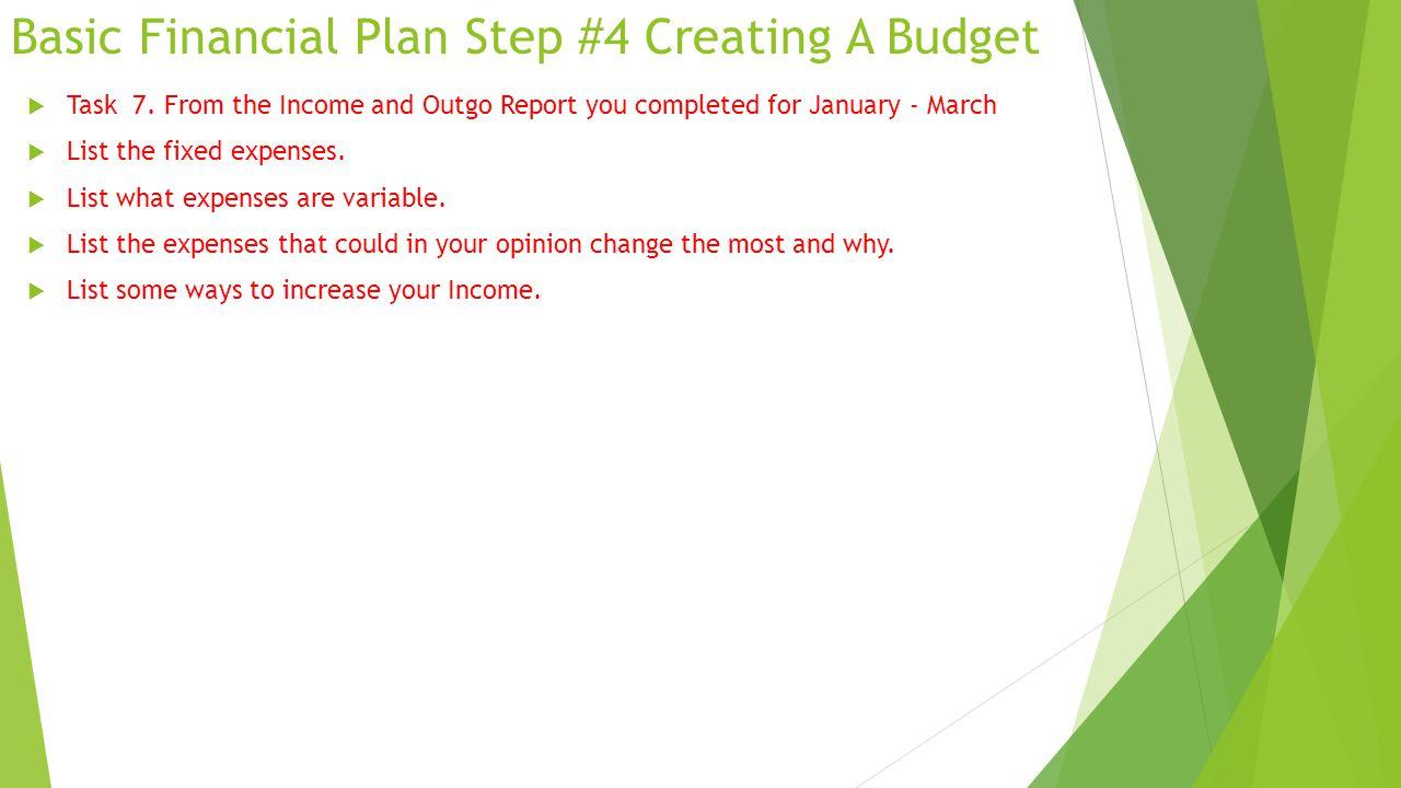 Basic Financial Plan Step #4 Creating A Budget  Task 7.