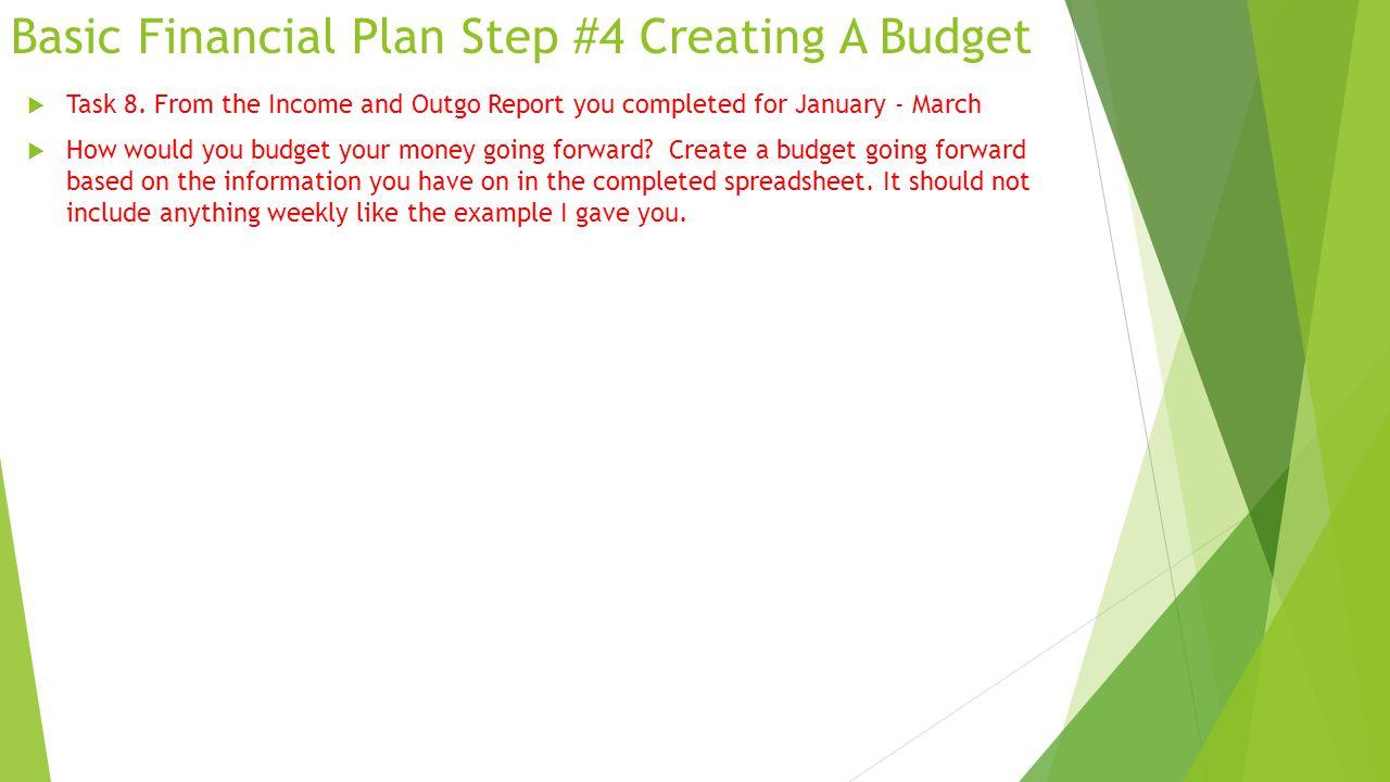 Basic Financial Plan Step #4 Creating A Budget  Task 8.