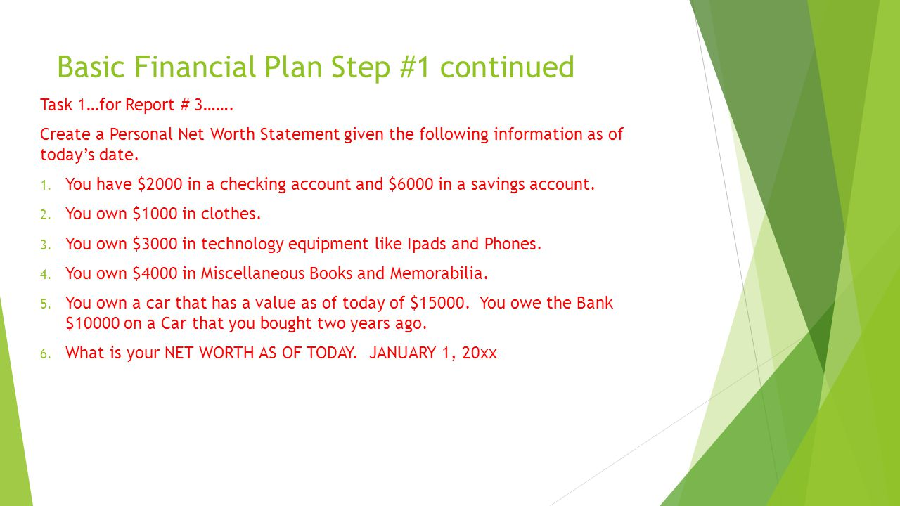 Basic Financial Plan Step #1 continued Task 1…for Report # 3…….