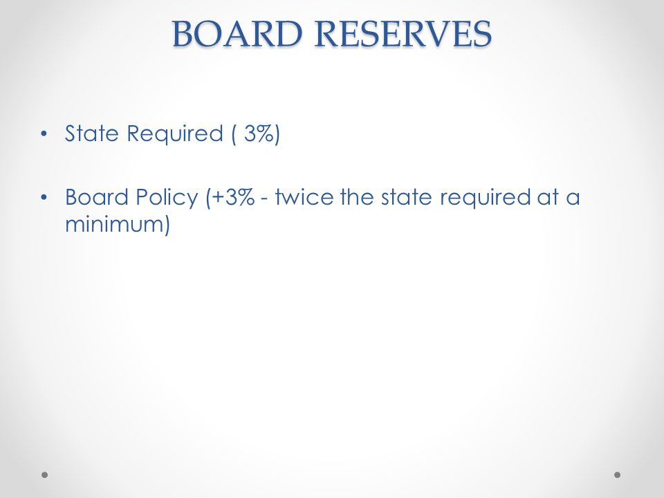 BOARD RESERVES State Required ( 3%) Board Policy (+3% - twice the state required at a minimum)