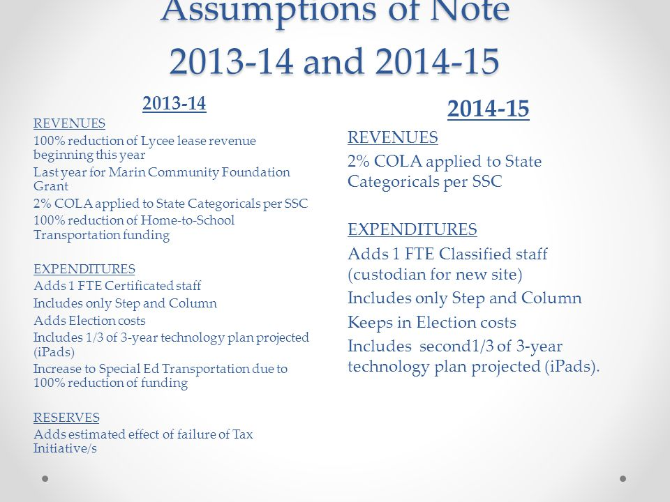 Assumptions of Note 2013-14 and 2014-15 2014-15 REVENUES 2% COLA applied to State Categoricals per SSC EXPENDITURES Adds 1 FTE Classified staff (custodian for new site) Includes only Step and Column Keeps in Election costs Includes second1/3 of 3-year technology plan projected (iPads).