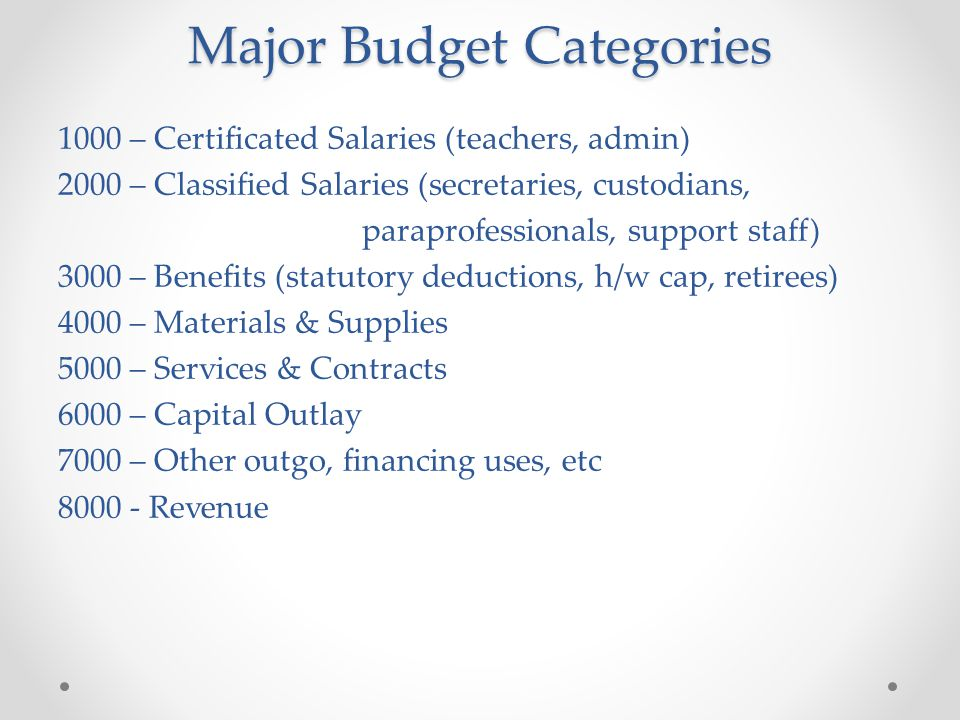 Major Budget Categories 1000 – Certificated Salaries (teachers, admin) 2000 – Classified Salaries (secretaries, custodians, paraprofessionals, support staff) 3000 – Benefits (statutory deductions, h/w cap, retirees) 4000 – Materials & Supplies 5000 – Services & Contracts 6000 – Capital Outlay 7000 – Other outgo, financing uses, etc 8000 - Revenue