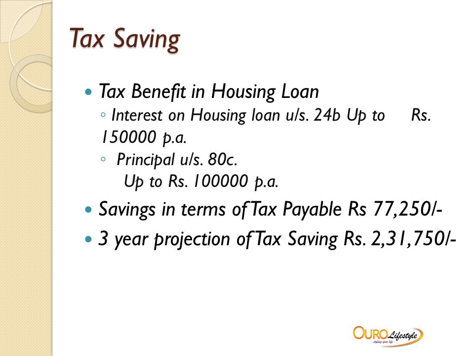 Tax Saving Tax Benefit in Housing Loan ◦ Interest on Housing loan u/s.