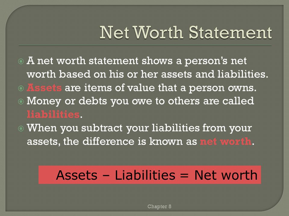 Chapter 8 Anisa Newkirk January 1, 20— AssetsLiabilities Checking account$500Loan on car$1,800 Savings account800Loan from parents100 Car value3,000Total liabilities$1,900 Personal property5,000Net Worth Total assets$9,300Assets minus liabilities$7,400 Total liabilities and net worth$9,300 These two numbers must be the same.