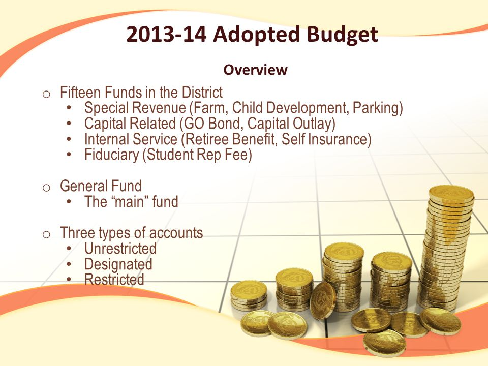 Overview o Fifteen Funds in the District Special Revenue (Farm, Child Development, Parking) Capital Related (GO Bond, Capital Outlay) Internal Service (Retiree Benefit, Self Insurance) Fiduciary (Student Rep Fee) o General Fund The main fund o Three types of accounts Unrestricted Designated Restricted