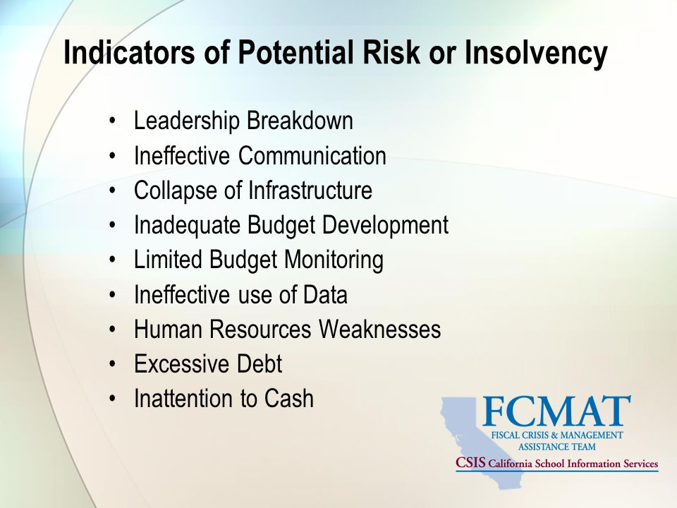 Indicators of Potential Risk or Insolvency Leadership Breakdown Ineffective Communication Collapse of Infrastructure Inadequate Budget Development Limited Budget Monitoring Ineffective use of Data Human Resources Weaknesses Excessive Debt Inattention to Cash