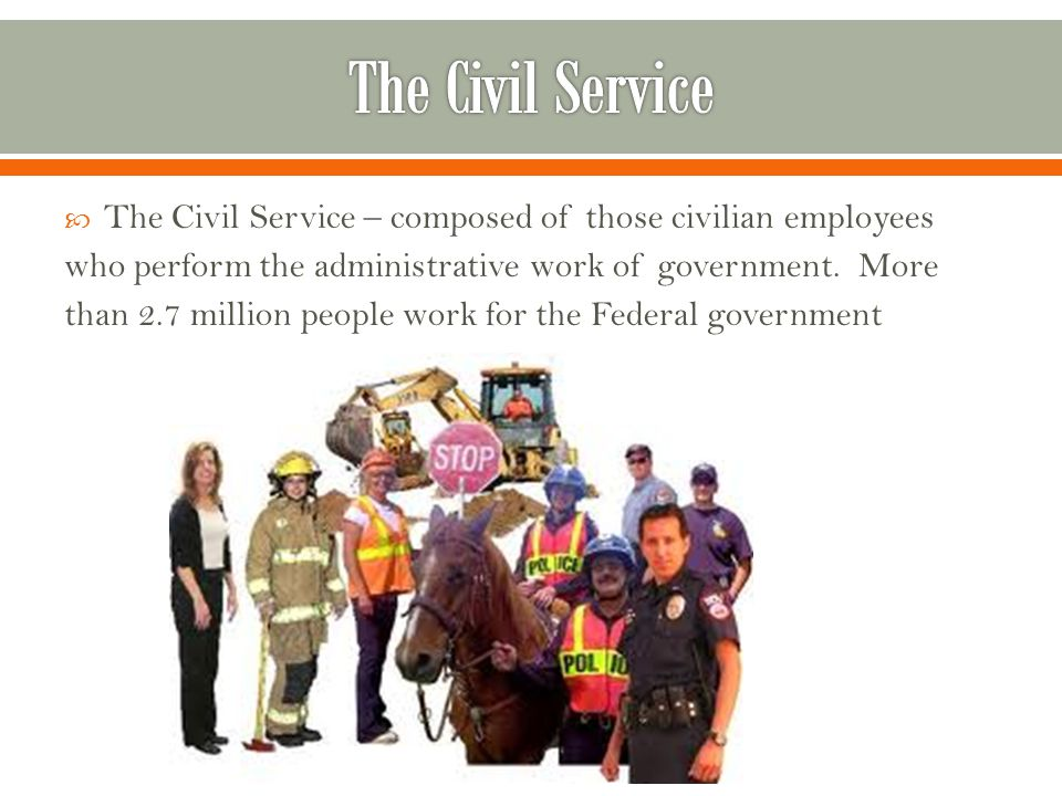  The Civil Service – composed of those civilian employees who perform the administrative work of government.