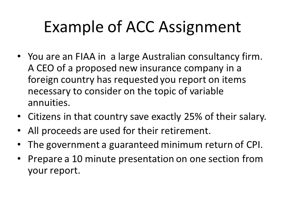Observations on example ACC assignment Limited information.