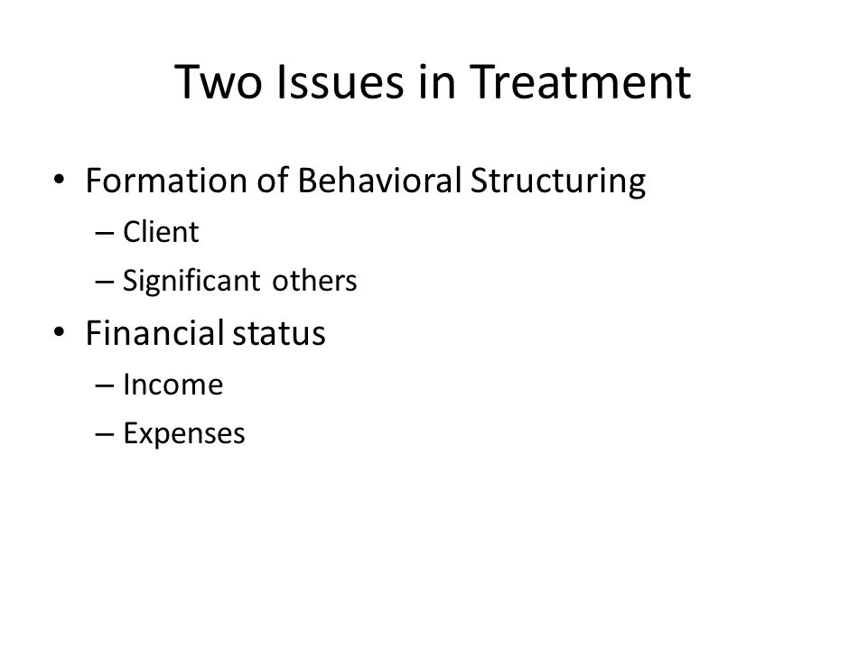 Two Issues in Treatment Formation of Behavioral Structuring – Client – Significant others Financial status – Income – Expenses