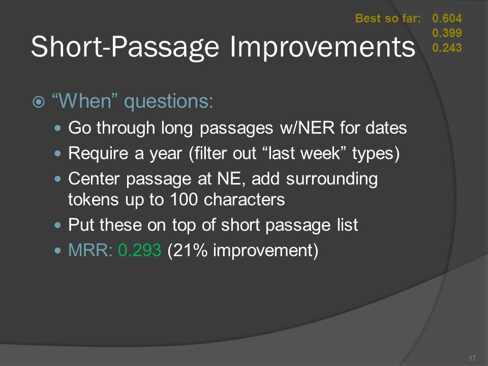 Short-Passage Improvements Best so far:0.604 0.399 0.243  When questions: Go through long passages w/NER for dates Require a year (filter out last week types) Center passage at NE, add surrounding tokens up to 100 characters Put these on top of short passage list MRR: 0.293 (21% improvement) 17