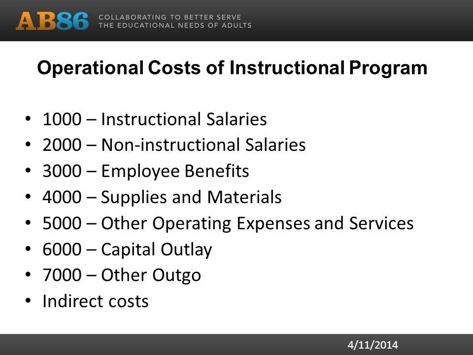 Operational Costs of Instructional Program 1000 – Instructional Salaries 2000 – Non-instructional Salaries 3000 – Employee Benefits 4000 – Supplies an