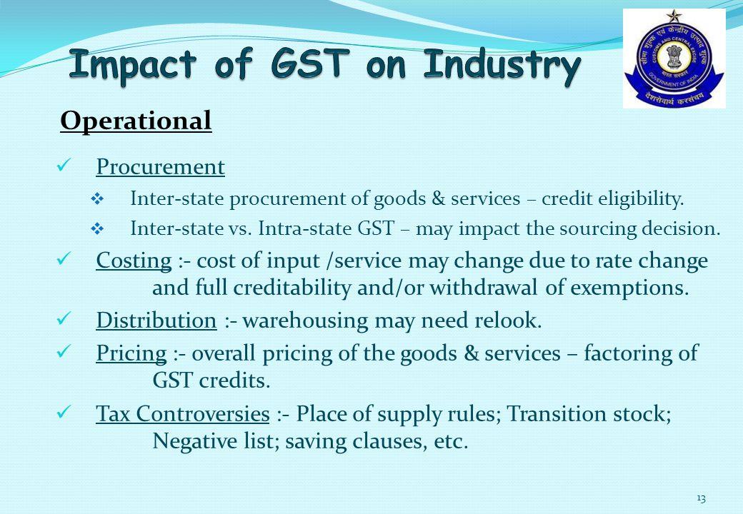 Procurement  Inter-state procurement of goods & services – credit eligibility.