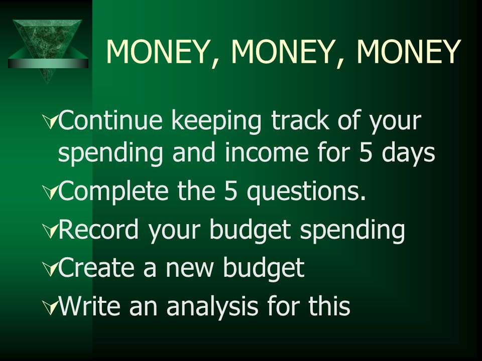 MONEY, MONEY, MONEY  Continue keeping track of your spending and income for 5 days  Complete the 5 questions.