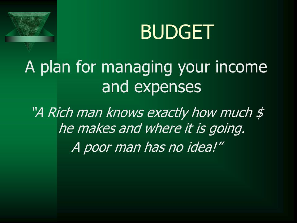 BUDGET A plan for managing your income and expenses A Rich man knows exactly how much $ he makes and where it is going.