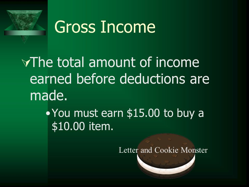 Gross Income  The total amount of income earned before deductions are made.