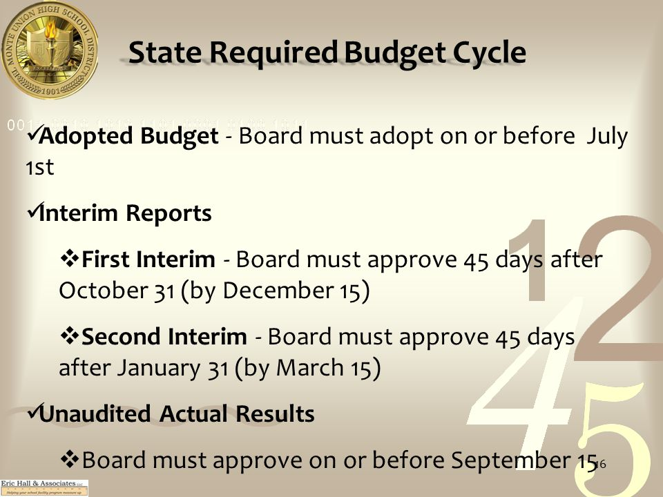 State Required Budget Cycle Adopted Budget - Board must adopt on or before July 1st Interim Reports  First Interim - Board must approve 45 days after October 31 (by December 15)  Second Interim - Board must approve 45 days after January 31 (by March 15) Unaudited Actual Results  Board must approve on or before September 15 16