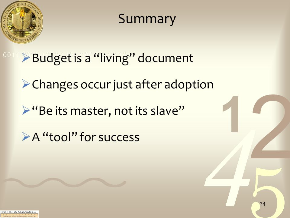 Summary  Budget is a living document  Changes occur just after adoption  Be its master, not its slave  A tool for success 24