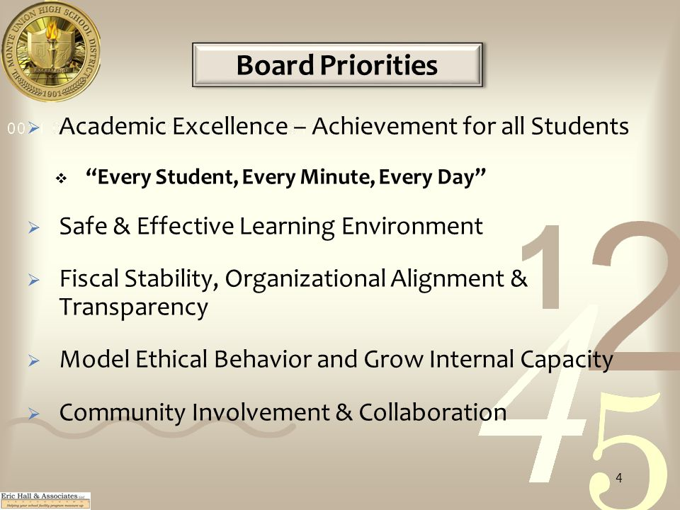 Board Priorities  Academic Excellence – Achievement for all Students  Every Student, Every Minute, Every Day  Safe & Effective Learning Environment  Fiscal Stability, Organizational Alignment & Transparency  Model Ethical Behavior and Grow Internal Capacity  Community Involvement & Collaboration 4