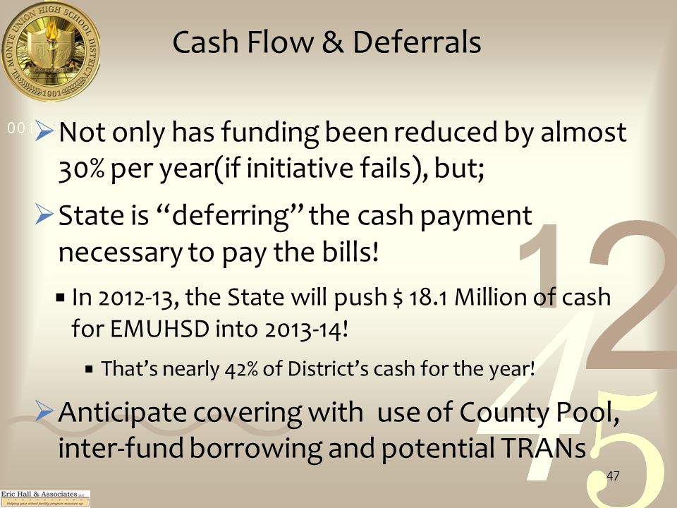 Cash Flow & Deferrals  Not only has funding been reduced by almost 30% per year(if initiative fails), but;  State is deferring the cash payment necessary to pay the bills.