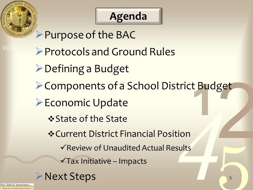 Agenda  Purpose of the BAC  Protocols and Ground Rules  Defining a Budget  Components of a School District Budget  Economic Update  State of the State  Current District Financial Position Review of Unaudited Actual Results Tax Initiative – Impacts  Next Steps 5