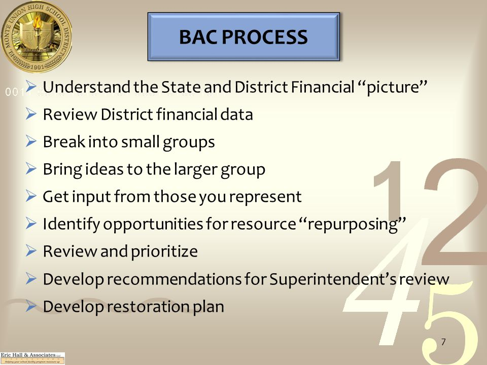 BAC PROCESS  Understand the State and District Financial picture  Review District financial data  Break into small groups  Bring ideas to the larger group  Get input from those you represent  Identify opportunities for resource repurposing  Review and prioritize  Develop recommendations for Superintendent's review  Develop restoration plan 7