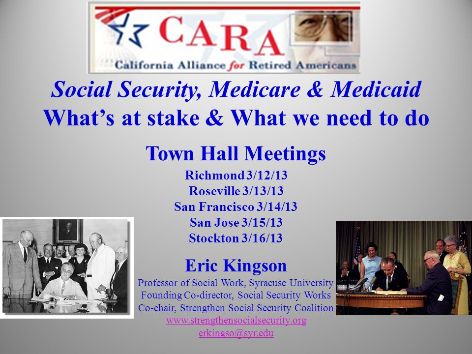 Organization of Presentation What we built, why we built them & why they work Why and how they are under attack What's at stake for each of us and the nation What being done by our allies and what we can do Generations of Americans Built SS, Medicare & Medicaid.