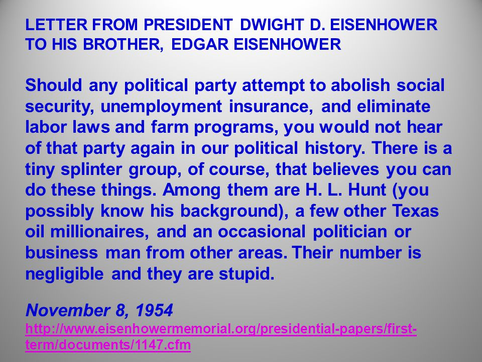 LETTER FROM PRESIDENT DWIGHT D.
