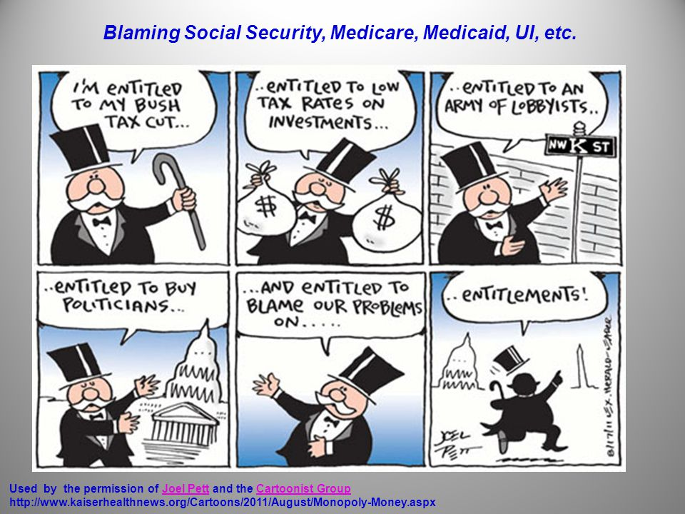 Used by the permission of Joel Pett and the Cartoonist Group http://www.kaiserhealthnews.org/Cartoons/2011/August/Monopoly-Money.aspxJoel PettCartoonist Group Blaming Social Security, Medicare, Medicaid, UI, etc.