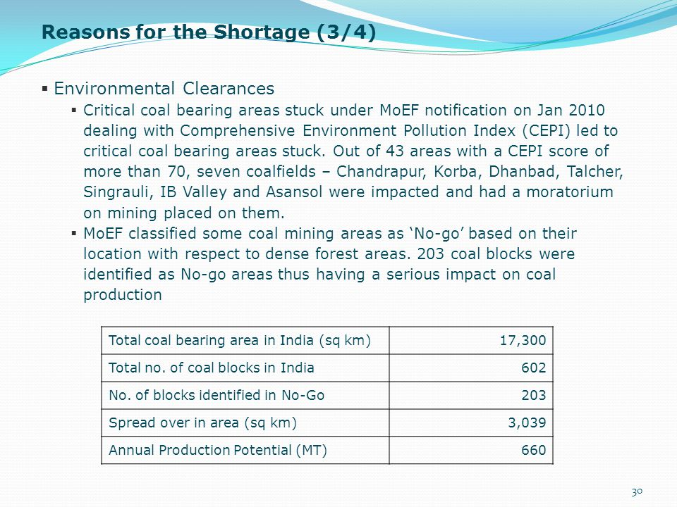  Environmental Clearances  Critical coal bearing areas stuck under MoEF notification on Jan 2010 dealing with Comprehensive Environment Pollution In