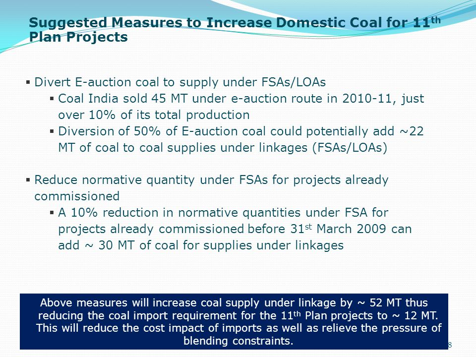 Suggested Measures to Increase Domestic Coal for 11 th Plan Projects 38  Divert E-auction coal to supply under FSAs/LOAs  Coal India sold 45 MT unde