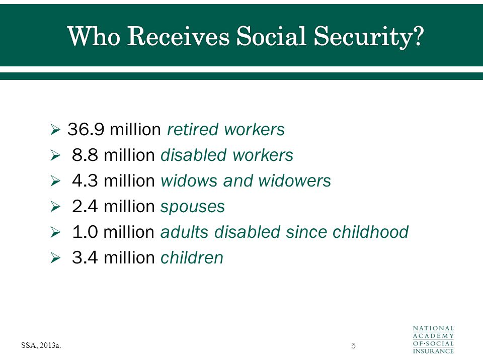  36.9 million retired workers  8.8 million disabled workers  4.3 million widows and widowers  2.4 million spouses  1.0 million adults disabled si