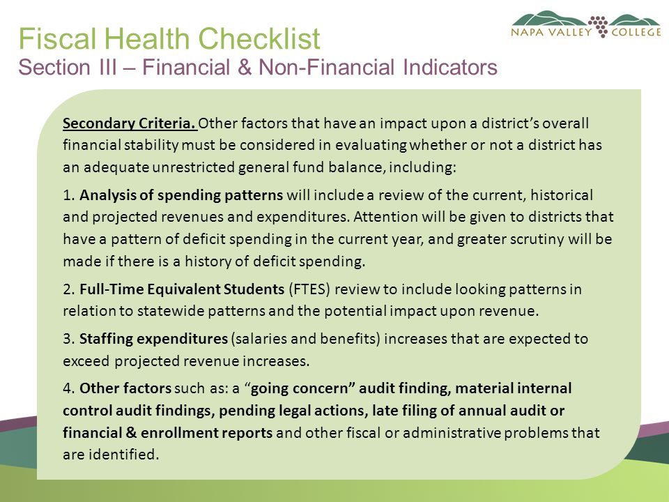 Fiscal Health Checklist Section III – Financial & Non-Financial Indicators Secondary Criteria.
