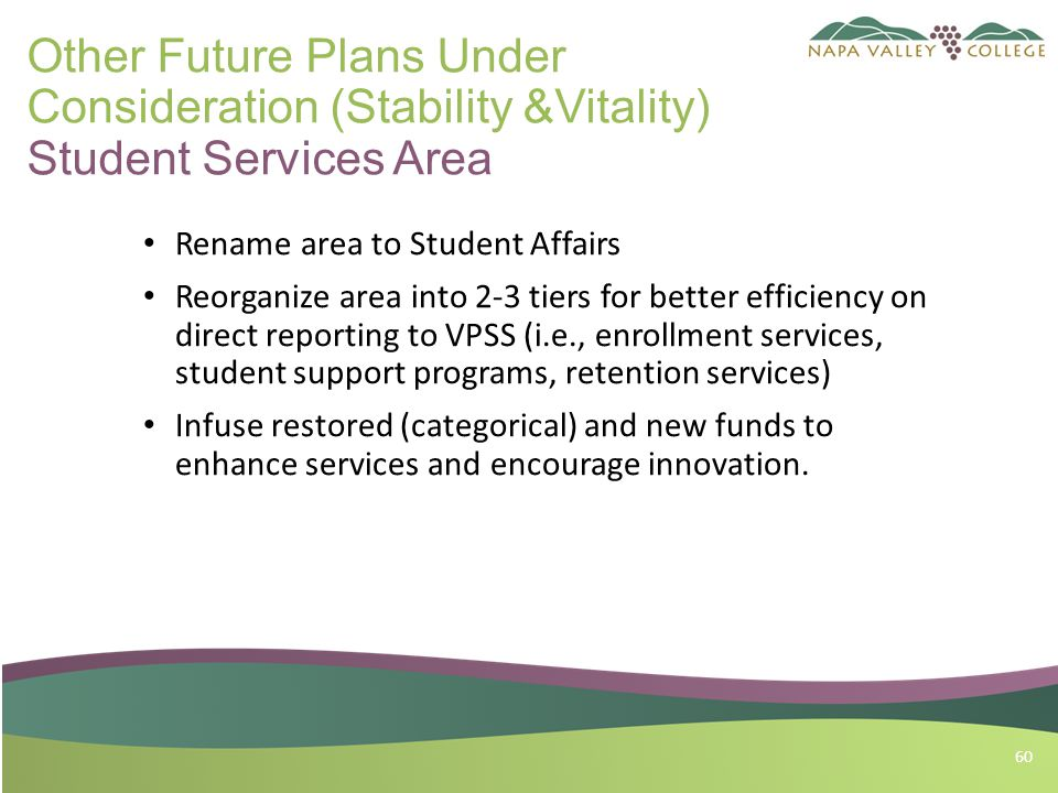 60 Other Future Plans Under Consideration (Stability &Vitality) Student Services Area Rename area to Student Affairs Reorganize area into 2-3 tiers for better efficiency on direct reporting to VPSS (i.e., enrollment services, student support programs, retention services) Infuse restored (categorical) and new funds to enhance services and encourage innovation.